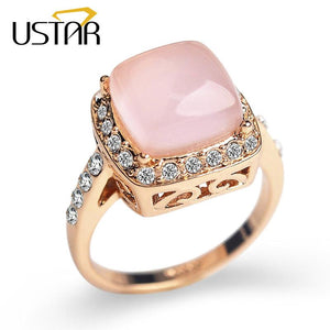 USTAR Square semi-precious stone wedding Rings for women Rose Gold color Cubic Zirconia Crystals Engagement rings female Anel