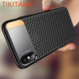 Heat dissipation Phone Cases For iphone X Fitted Cases Breathable Scrub Texture Shockproof Armor Case Cover With Holder Stand