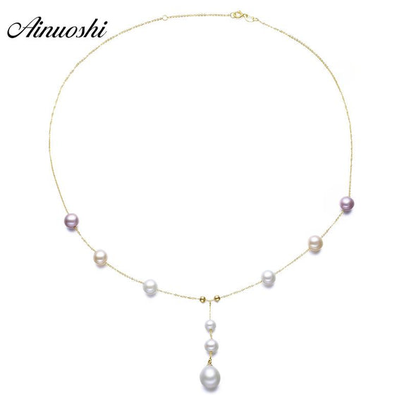 AINUOSHI 18K Yellow Solid Gold Choker Necklace Natural Cultured Freshwater Pearl Pendant Necklace Women Chain