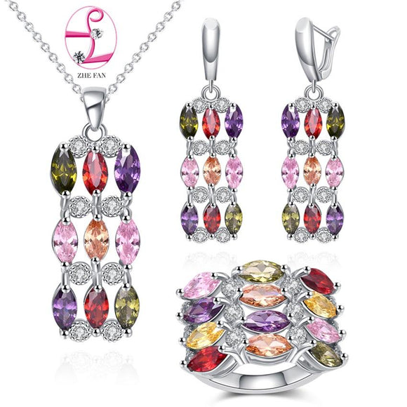 ZHE FAN AAA Cubic Zirconia Earrings Pendant Necklace Ring Fashion Jewelry Sets For Women Engagement Party Purple Green Blue
