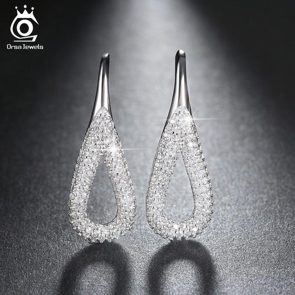 ORSA JEWELS Trendy Design Water Drop Silver Color Earrings With Shiny Cubic Zircon For Women Girl Fashion Drop Earring OE146