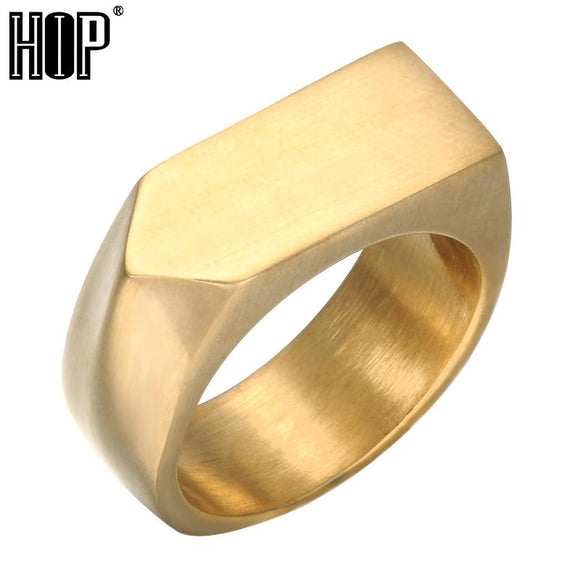 Mens Signet Rings Gold/Silver/Black Color Titanium Stainless Steel Chunky Square Finger Rings for Men Jewelry