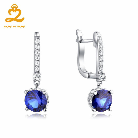 Heart By Heart Drop Earrings Statement Sapphire Color Spinel Crystal Silver 925 Jewelry Elegant Earrings Drop Shipping Jewelry