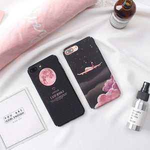 Space Moon plane phone Cases For iphone x 6 6s 6plus 7 7Plus 8 8plus Scrub hard PC case back cover for iphone 6 case
