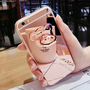 Fashion Silicone Mirror Metal Bear Ring Case For Samsung Galaxy S3 S4 S5 Mini S6 S6 Edge plus S7 S7 Edge S8 Plus Case Cover