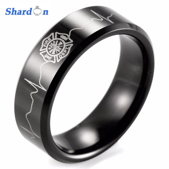 SHARDON ring men Black Beveled Tungsten Carbide Firefighter Shield & EKG Design Outdoor Wedding Band men firefighter rings