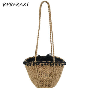 REREKAXI New Bohemian Beach Bag for Women Cute Handmade Straw Bags Summer Grass Handbags Drawstring Basket Bag Travel Tote