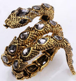 YACQ Stretch Snake Bracelet Armlet Upper Arm Cuff Women Crystal Bangle Jewelry Antique Gold Silver Color