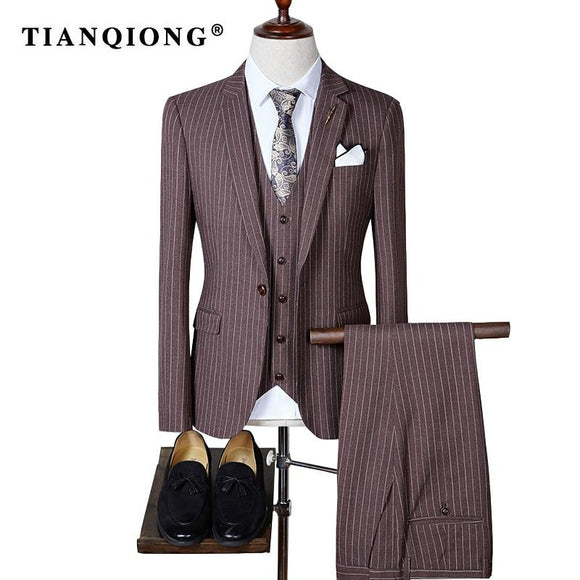 TIAN QIONG 2017 High Quality Men Suits Fashion Stripe Men's Slim Fit Business Wedding Suit Men Wedding Suit(Blazers +Vest+Pants)