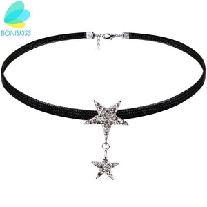 Boniskiss Fashion Black Wax Rope Choker Necklaces Jewelry For Women Crystal Star Statement Necklaces Collares Hot