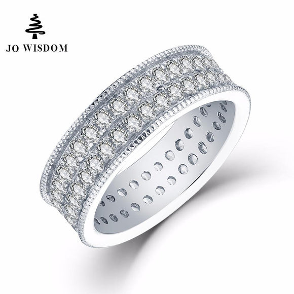 JO WISDOM Trendy 100% 925 Sterling Silver Women Wedding Ring Engagement Ring for Women