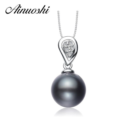 AINUOSHI Luxury Princess 925 Sterling Silver Women Pendants Natural South Sea Black Tahiti Pearl 10mm Round Pearl Lady Pendants