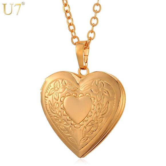 U7 Floating Locket Necklace Pendant Women Jewelry Bridesmaid Gift Gold Color Vintage Photo Heart Charm Necklace Minimalist P318