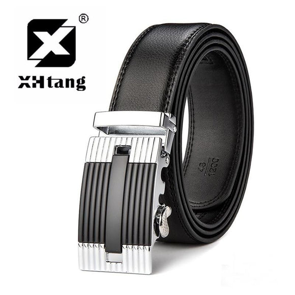 XHTANG Brand Men's Genuine Leather Ratchet Belt Fashion Automatic Buckle Belts for Men 3.5cm Black Strap Jeans Elegant Gift