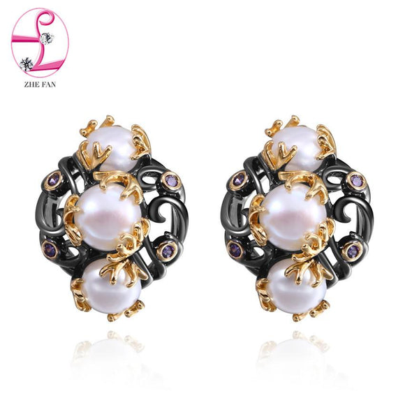 ZHE FAN Black Gold Color Earrings For Women AAA Cubic Zirconia Freshwater Pearls Bijoux Earring Vintage Brand Jewelry Gift