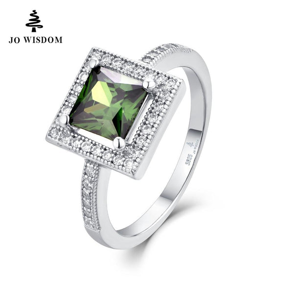 JO WISDOM Birthstone May Emeral Fine Jewelry Ring 925 Silver Jewelry Women Finger Rings Decorations for Women Wedding Decoration