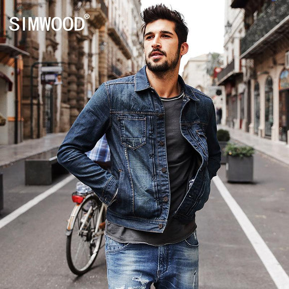 SIMWOOD 2017 New Autumn Winter denim jacket men fashion streetwear jeans jacket 100% cotton NJ6510