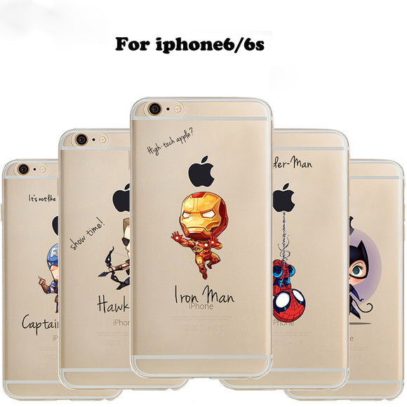 ciciber Phone Case Marvel The Avengers Batman DC Comics Superhero Soft Transparent Case Cover for IPhone 6 6S 7 8 Plus 5S SE X