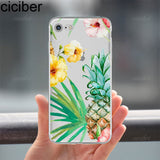 ciciber Phone cases Summer Fruit Flower Toucan pineapple leaves cactus soft case cover for iPhone 6 6S 7 8 plus 5S SE X Coque