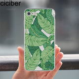ciciber Tropical Plants Cactus Banana Leaves soft silicon Phone cases cover For iPhone 6 6S 7 8 plus 5S SE X Capinha Coque Capa