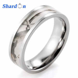 SHARDON Women Ring Titanium White Snow Realtree AP Camo Ring Camouflage Engagement wedding Bands women jewelry ring silver