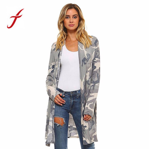 Feitong Women Kimono Cardigan Autumn Causal Camouflage Print Long Sleeve Loose Shawl Top Cover up Jacket Blouse blusas mujer New