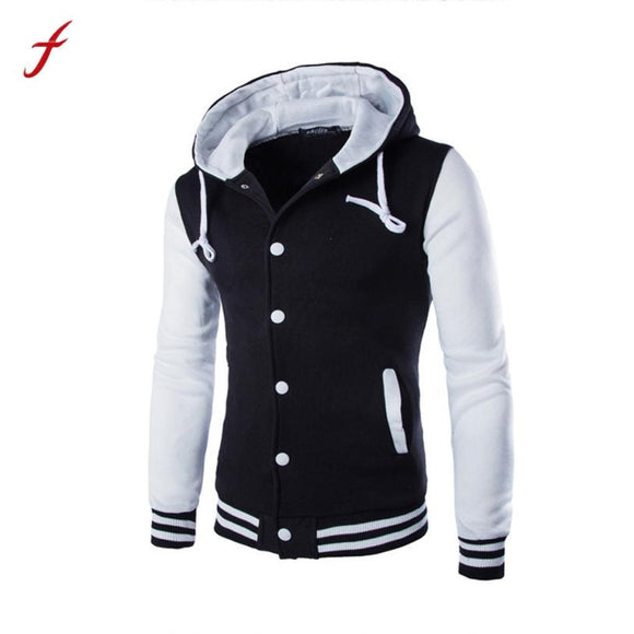 2017 Men Coat Jacket Outwear Sweater Winter Slim Hoodie Warm Hooded Coat 4Color
