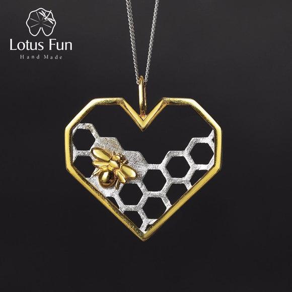 Lotus Fun Real 925 Sterling Silver Handmade Fine Jewelry Honeycomb Home Guard Love Heart Shape Pendant without Chain for Women