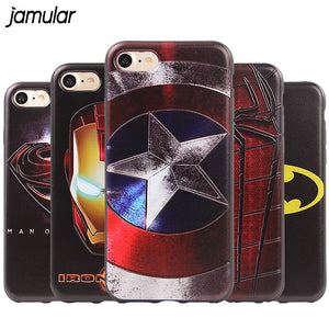 JAMULAR Superman Spiderman Captain America Silicone Phone Case for iPhone 7 6 6s 8 Plus X Cases Back Cover Fundas Skin Bag