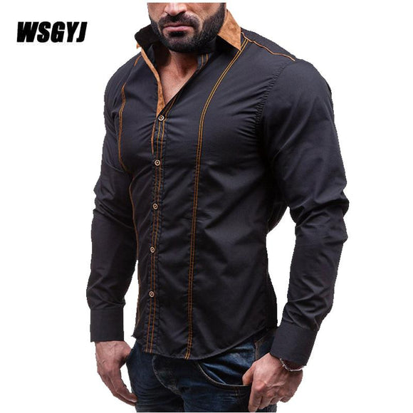 2017 Spring Autumn Features Shirts Men Casual Shirt New Arrival Long Sleeve Casual Slim Fit Male Shirts Plus Size M-4XL