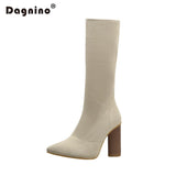 DAGNINO Ankle Elastic Sock Boots Chunky High Heels Stretch Women Spring Sexy Booties With Pointed Toe Chelsea Boots Pumps Shoes