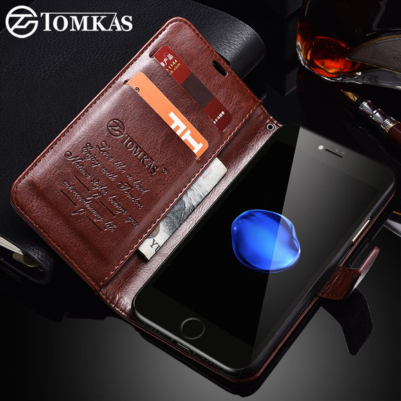 TOMKAS Case For iPhone 7 8 Plus PU Leather Wallet Style Kickstand Business Phone Bags Cases For iPhone 7 Plus 8 Plus Case