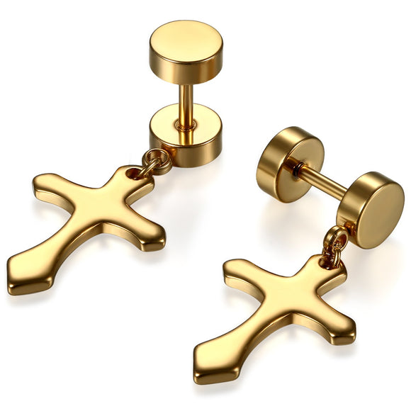 BONISKISS 6mm Unisex Push Back Ear Stud With Cross Charm 316L Stainless Steel Silve/gold/black
