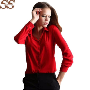 5 Colors Work Wear 2017 Women Shirt Chiffon Blusas Femininas Tops Elegant Ladies Formal Office Blouse 3XL Solid Shirt Women