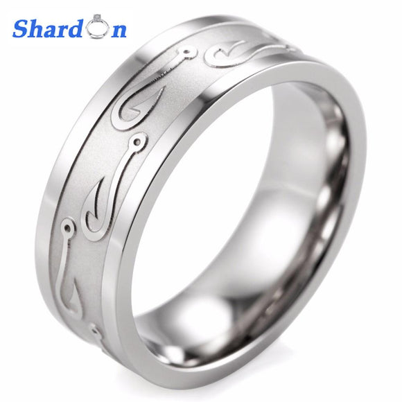 SHARDON engagement Rings round men ring 8MM Flat Titanium Carved Textured Fish Hook Ring Hunting Wedding Band