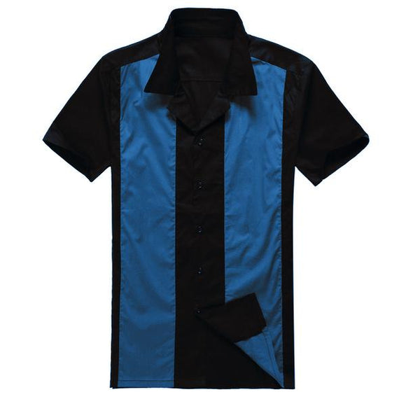 Online Shopping Stores Uk Design Mens Casual Shirts Black Blue Rockabilly Fifties Clothing for Party Club