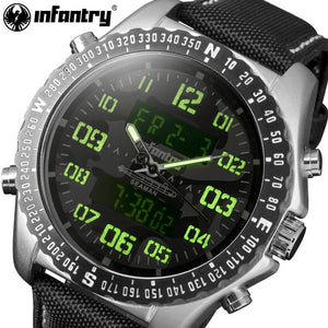 INFANTRY Watches Men Camo Style Chronograph Aviator Military Quartz-watch Nylon Strap Wristwatch Relogio Masculino ping
