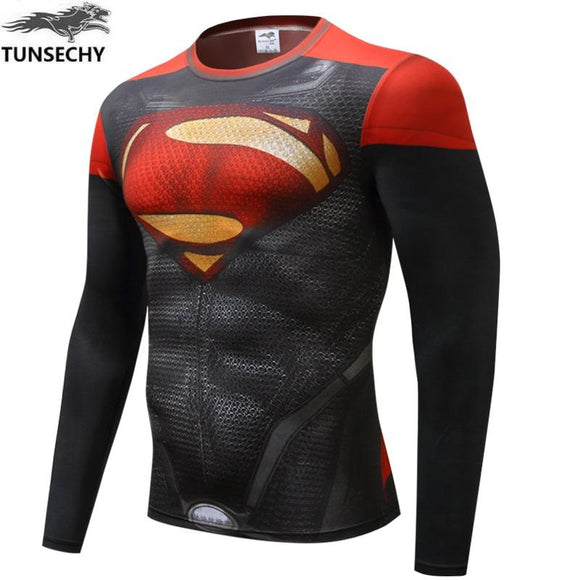 Men Compression Rashguard Fitness Long Sleeves Base Layer Skin Tight Weight Lifting Elastic Mens T Shirts TUNSECHY