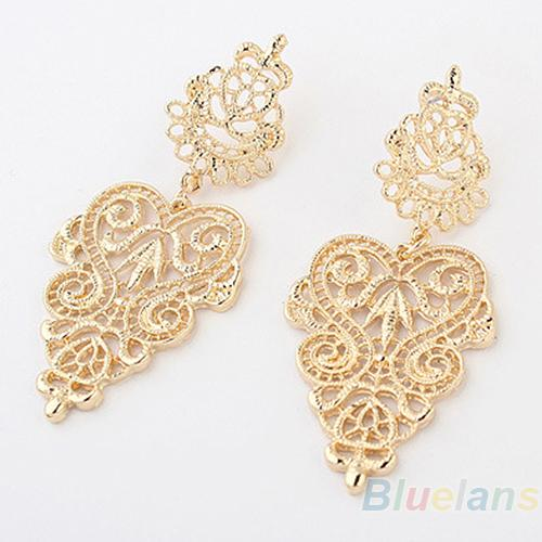 Bluelans Fashion Retro Vintage Alloy Silver Golden Long Bohemian Pierced Earrings for Women