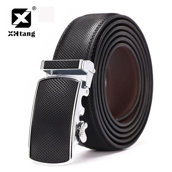 XHTANG High Quality Leather Belt Men Automatic Buckle Belt Business Genuine Leather Ratchet Belts for Jeans Fashion Waistband