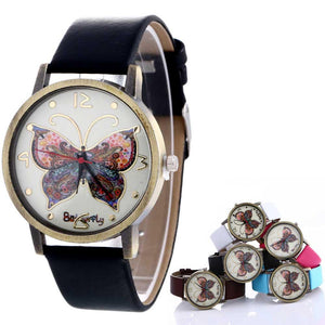 Old School Butterfly Women Watches 2017 Retro Design PU Leather Quartz Watches Women Clock Nice Watches