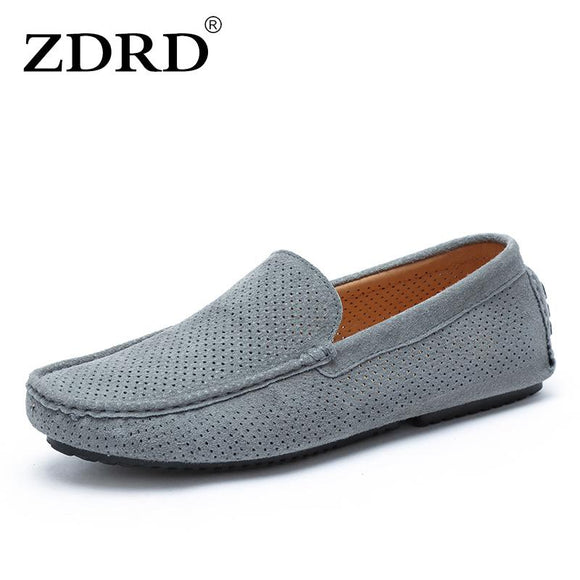ZDRD Superstar Men Genuine Suede Leather Loafers Shoes Casual Italian Luxury Brand Shoe Men Hollow Breathable krasovki Boat Shoe