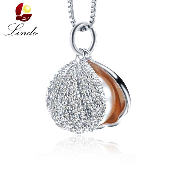 LINDO Brand New Shell Pendant Necklace High quallity 9-10mm Original Pearl Jewelry Female Party Jewelry With Gift Box
