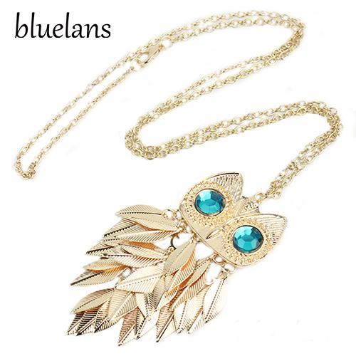 Bluelans Fashionable Stylish Leaves Owl Charm Chain Long Women Pendant Necklace 00IN