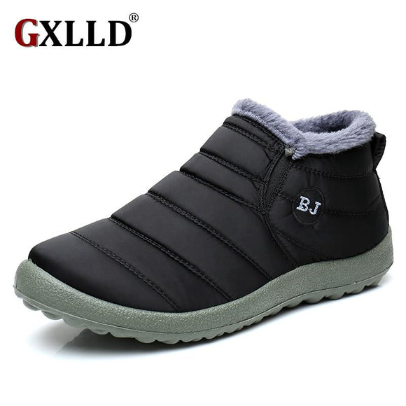 New Fashion Men Winter Shoes Solid Color Snow Boots Plush Inside Antiskid Bottom Keep Warm Waterproof Ski Boots Size 39 - 44