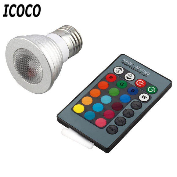 ICOCO 5W E27 Multi Color Change RGB LED Light Bulb Lamp & Remote Control Ultra Bright Environment-friendly No UV IR Radiation
