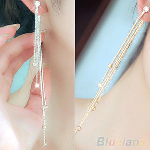 Bluelans Women's Rhinestone Alloy Long Tassels Drop Dangle Cocktail Party Linear Earrings 1P4D