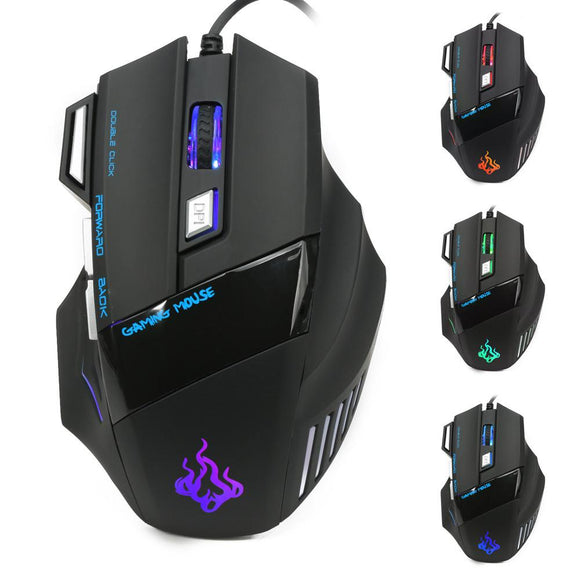 Malloom Noiseless Gaming Mouse New 5500 DPI 7 Button LED Optical USB Wired Gaming Mouse Mice For Pro Gamer Cool