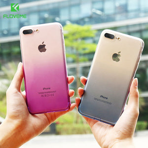 FLOVEME Gradient Changing Colors Case For iPhone 8 6 5S Ultra Slim Soft Silicon TPU Cover For iPhone 6 7 8 Plus Cases