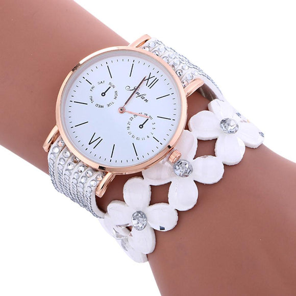 Diamond Metal Watch Bracelets 2017 Large Dial Chimes PU Leather Watches Women Clock Nice Woman Watch Montre Femme